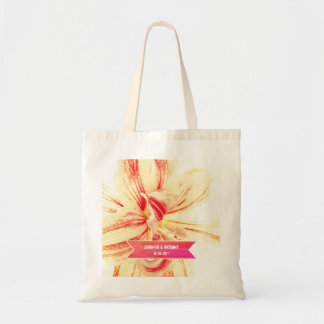 Striped Amaryllis Flower Custom Wedding Tote Bag