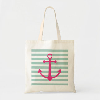 Striped anchor tote bag