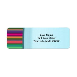 Striped Aqua Return Address Label