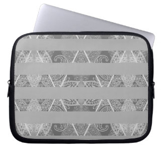 Striped Argyle Embellished Grey Laptop Sleeve