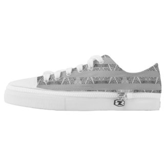 Striped Argyle Embellished Grey Light Low-Top Sneakers