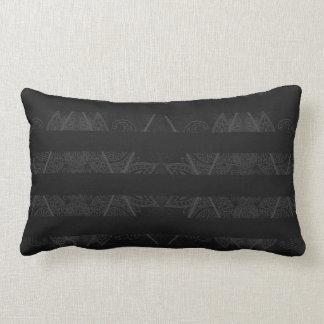 Striped Argyle Embellished Grey Lumbar Pillow