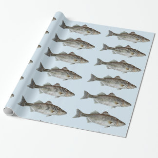 Striped Bass Fish Pattern Wrapping Paper
