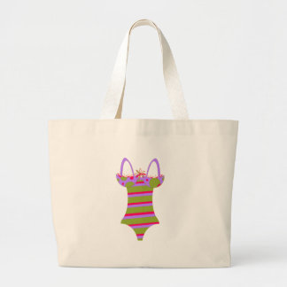 Striped Bathing Suit Large Tote Bag