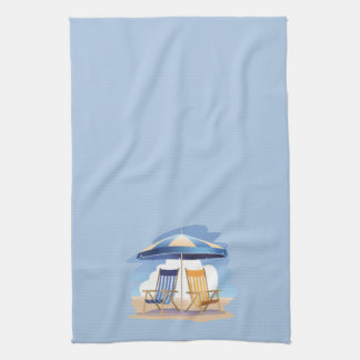 Striped Beach Chairs & Umbrella on Lt Blue Hand Towels