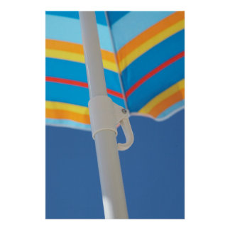 Striped Beach Umbrella Poster