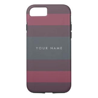 Striped Berry & Petrol Custom iPhone 7 Case