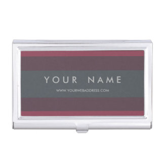 Striped Berry & Petrol Personalized Business Card Holder