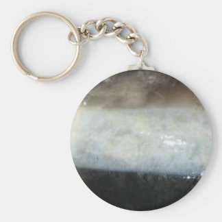 Striped Black Agate, Cool Unique Nature Stone Basic Round Button Keychain