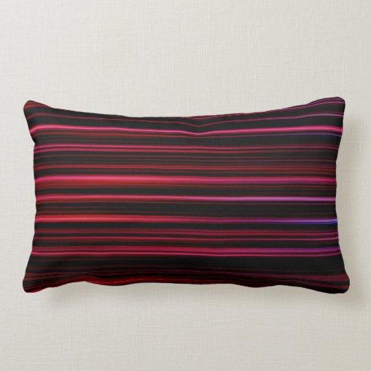 Striped Black Pink Red Cotton Lumbar Pillow
