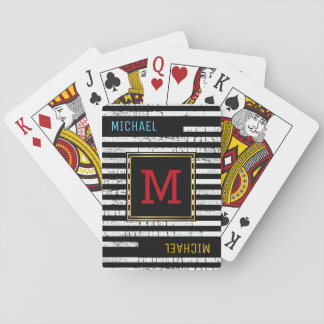 striped black playing cards with monogram