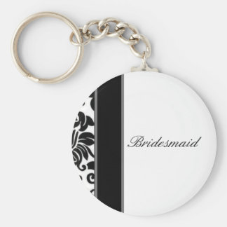 Striped black white and grey damask Wedding set Basic Round Button Keychain