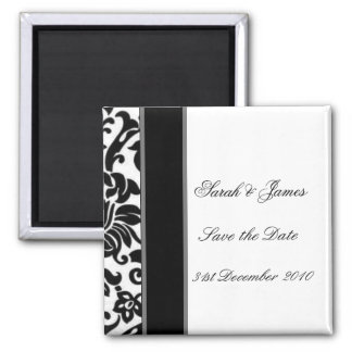 Striped black white and grey damask Wedding set Magnet