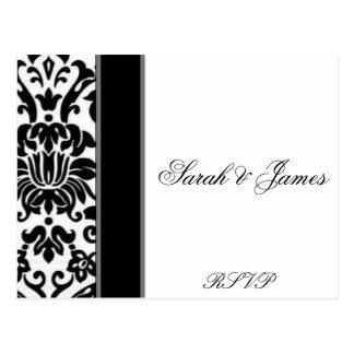 Striped black white and grey damask Wedding set Postcard