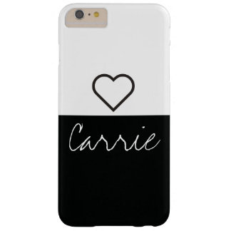 Striped Black & White | Customizable Text & Font Barely There iPhone 6 Plus Case