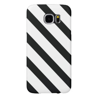 Striped (Black & White | Diagonal) Any Size Custom Samsung Galaxy S6 Cases