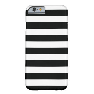 Striped (Black & White | Horizontal) Customizable Barely There iPhone 6 Case