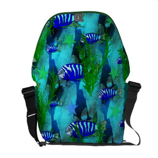 Striped Blue Fish and Stars Messenger Bag