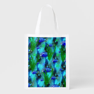 Striped Blue Fish and Stars Reusable Grocery Bags
