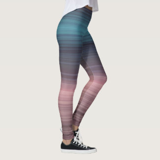 Striped blue, navy and dusty rose leggings