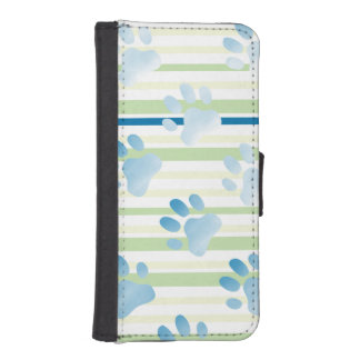 Striped Blue Paw Print Phone Wallet Cases