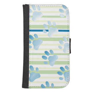 Striped Blue Paw Print Phone Wallets