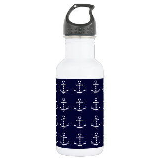 Striped blue white anchor 532 ml water bottle