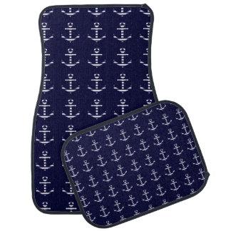 Striped blue white anchor car mat
