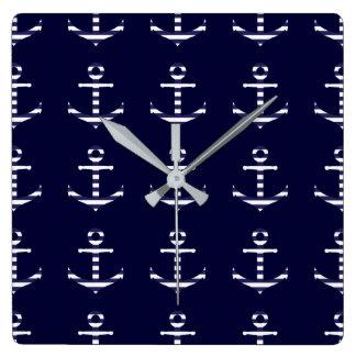 Striped blue white anchor clocks