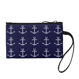 Striped blue white anchor coin purse