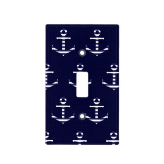 Striped blue white anchor light switch cover