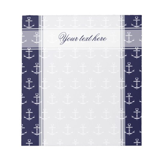 Striped blue white anchor notepad