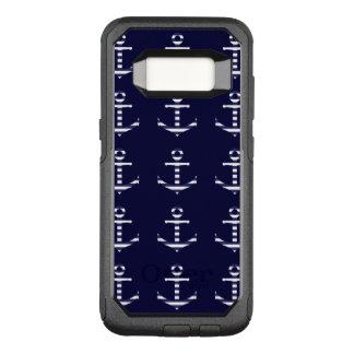 Striped blue white anchor OtterBox commuter samsung galaxy s8 case
