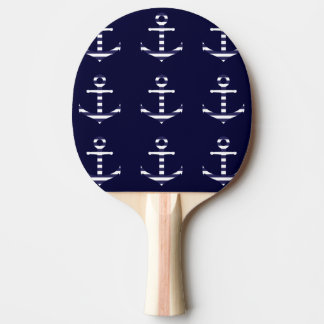 Striped blue white anchor Ping-Pong paddle