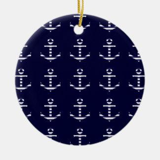 Striped blue white anchor round ceramic ornament