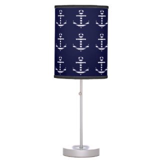 Striped blue white anchor table lamp