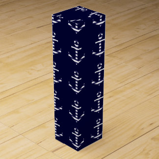 Striped blue white anchor wine gift box