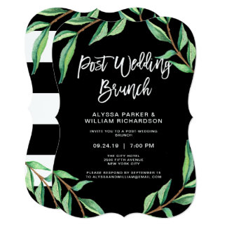 Striped Botanical | Post Wedding Brunch Card