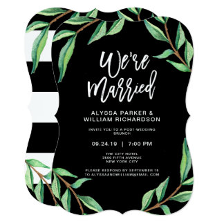 Striped Botanical | We're Married Card