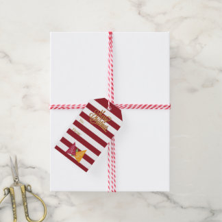 Striped Burgundy White•Tri-Colour Christmas Trees Pack Of Gift Tags