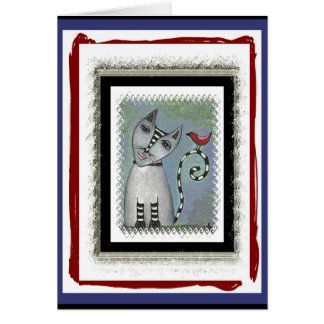 Striped Cat & Red Bird - blue/red version Greeting Card