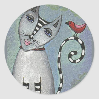 Striped Cat & Red Bird - sticker