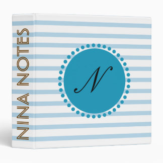 Striped Clean Monogram Sky Blue Personalized Binder