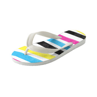 Striped Colorful Pattern Kid's Flip Flops