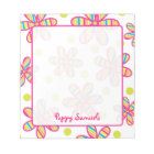 Striped Colourful Flower Personalized Notepad