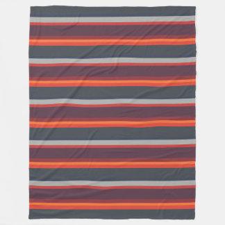 Striped Colours Sunset Bright Modern Orange & Grey Fleece Blanket