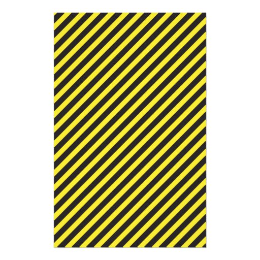 Striped Construction - Yellow & Black Diagonal Personalized Stationery