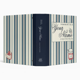 Striped cookbook blue 3 ring binder