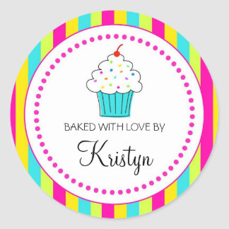 Striped Cupcake labels, From the Kitchen Of... Classic Round Sticker