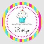 Striped Cupcake labels, From the Kitchen Of... Round Sticker